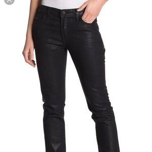 Current Elliot Cropped Black Coated Jeans Size 26